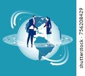 global cooperation.... | Shutterstock .eps vector #756208429