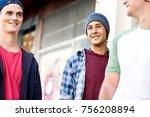 teenage friends walking at the... | Shutterstock . vector #756208894