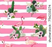 flamingo bird and tropical... | Shutterstock .eps vector #756210274