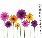 flowers. set. daisies. floral... | Shutterstock .eps vector #756210355