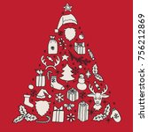 set of christmas hand drawn... | Shutterstock . vector #756212869