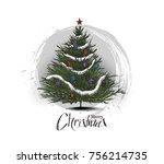 christmas tree sketch on white...