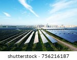 solar panel with cityscape of... | Shutterstock . vector #756216187