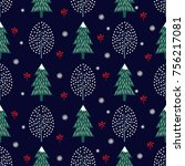 cute winter trees seamless...   Shutterstock .eps vector #756217081