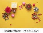 christmas ornament on yellow... | Shutterstock . vector #756218464
