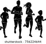 family jogging silhouette | Shutterstock .eps vector #756224644