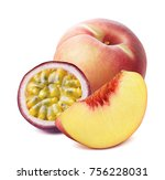 peach and passion fruit... | Shutterstock . vector #756228031