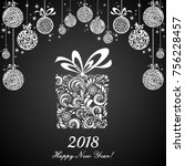 happy new year 2018  vintage... | Shutterstock .eps vector #756228457