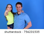 girl and man with happy faces... | Shutterstock . vector #756231535