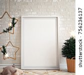 interior wall mock up with...   Shutterstock . vector #756236137