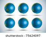 3d globe  10 degree rotation   Shutterstock . vector #75624097