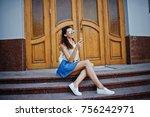 curly stylish girl wear on blue ... | Shutterstock . vector #756242971