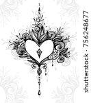 handmade zen tangle heart with... | Shutterstock .eps vector #756248677