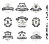 camping logos templates vector... | Shutterstock .eps vector #756252889
