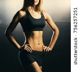 fit body of beautiful  healthy... | Shutterstock . vector #756257251