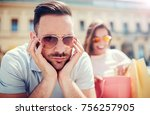 young couple in shopping....   Shutterstock . vector #756257905