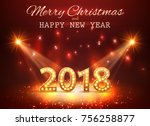 2018 happy new year greeting... | Shutterstock .eps vector #756258877