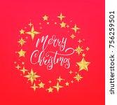merry christmas text lettering... | Shutterstock .eps vector #756259501
