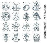 set of christmas outline icons  ... | Shutterstock .eps vector #756260005