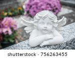 closeup of stoned angel at... | Shutterstock . vector #756263455