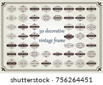 set of vintage frame with... | Shutterstock .eps vector #756264451