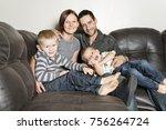 a portrait of family having fun ... | Shutterstock . vector #756264724