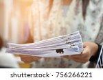 document handles in the filing... | Shutterstock . vector #756266221