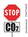 stop co2 written on roadsign  ... | Shutterstock . vector #756272635