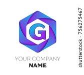 realistic letter g vector logo... | Shutterstock . vector #756275467
