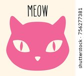 domestic cat pet mascot pink... | Shutterstock . vector #756277381