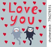 'love you' vector sign with... | Shutterstock .eps vector #756278551