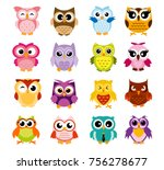 Stock vector vector illustration of colorful cartoon funny owls set on white background happy and joyful birds 756278677