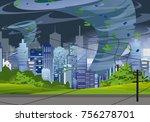 vector illustration tornado in... | Shutterstock .eps vector #756278701