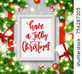 christmas greeting card with... | Shutterstock .eps vector #756287305