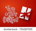 christmas greeting card with... | Shutterstock .eps vector #756287335