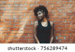 lovable black young female in... | Shutterstock . vector #756289474