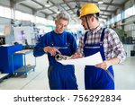 supplier with engineer checking ... | Shutterstock . vector #756292834