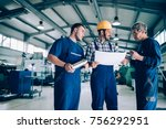 engineer teaching apprentices... | Shutterstock . vector #756292951