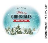 christmas landscape postcard ... | Shutterstock .eps vector #756297439