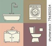 vector bathroom line style... | Shutterstock .eps vector #756302314