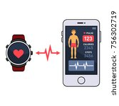 smart watch and smartphone with ... | Shutterstock .eps vector #756302719