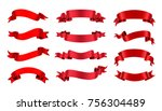 ribbon banner set. red ribbons... | Shutterstock .eps vector #756304489