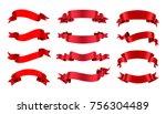 Ribbon banner set. Red ribbons.Vector illustration. | Shutterstock vector #756304489