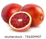 isolated blood oranges. two... | Shutterstock . vector #756309907