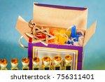 hanukkah candles and hanukkah... | Shutterstock . vector #756311401
