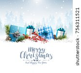 christmas greeting card with... | Shutterstock .eps vector #756311521