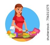 lunch box vector. making a... | Shutterstock .eps vector #756311575