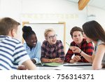 group of teenage students... | Shutterstock . vector #756314371