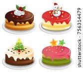 christmas cake set | Shutterstock .eps vector #756314479