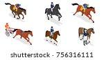 isometric set jockey on horse   Shutterstock .eps vector #756316111